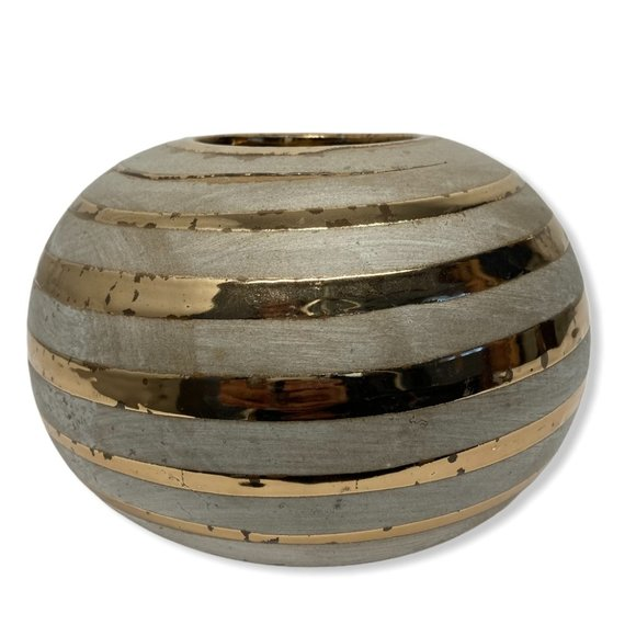 2 UNBRANDED Gold Trim Distressed Ceramic Décor